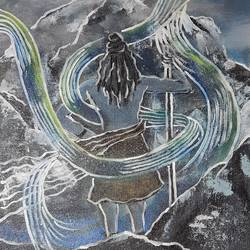 shiva infront of kailasa, 12 x 14 inch, vindhya acharya,12x14inch,canvas,paintings,abstract paintings,lord shiva paintings,paintings for living room,paintings for office,paintings for hotel,acrylic color,GAL02394637916