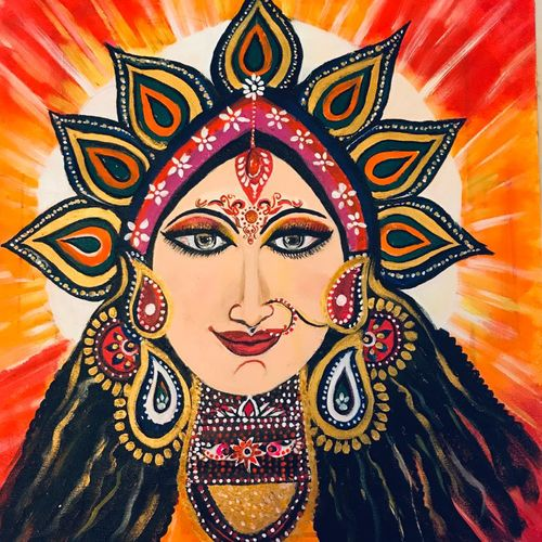 goddess durga, 20 x 22 inch, pragati c,20x22inch,canvas,paintings,abstract paintings,figurative paintings,religious paintings,portrait paintings,portraiture,paintings for living room,paintings for office,paintings for school,paintings for living room,paintings for office,paintings for school,acrylic color,GAL02554637917