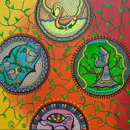 intricate bubbles of mithila, 36 x 24 inch, madhuri thaker,36x24inch,canvas,paintings,abstract paintings,folk art paintings,conceptual paintings,art deco paintings,madhubani paintings | madhubani art,paintings for dining room,paintings for living room,paintings for bedroom,paintings for office,paintings for hotel,acrylic color,GAL02637737919
