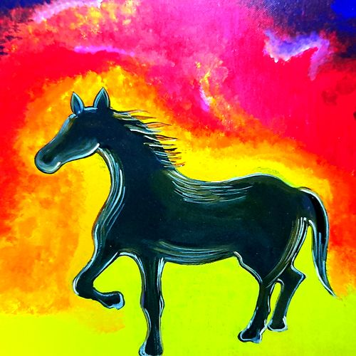 dark horse, 16 x 12 inch, madhuri thaker,16x12inch,canvas,paintings,wildlife paintings,figurative paintings,nature paintings | scenery paintings,art deco paintings,illustration paintings,animal paintings,horse paintings,paintings for living room,paintings for office,paintings for living room,paintings for office,acrylic color,GAL02637737921