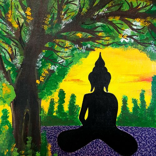 buddha - serenity, 12 x 16 inch, madhuri thaker,12x16inch,canvas,paintings,buddha paintings,wildlife paintings,figurative paintings,portrait paintings,nature paintings | scenery paintings,paintings for living room,paintings for office,paintings for hotel,paintings for hospital,acrylic color,GAL02637737923