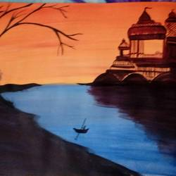 scenic, 13 x 10 inch, ayushi mangal,religious paintings,paintings for living room,thick paper,acrylic color,13x10inch,GAL012933793