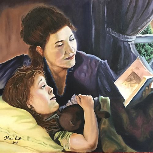 to be in your children's memories tomorrow , live with them today, 32 x 23 inch, monica parakh,32x23inch,canvas,portrait paintings,oil color,GAL02638737932