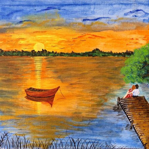 lakeside couple at sunset with boat, 12 x 10 inch, bhuvana j,12x10inch,canvas board,paintings,figurative paintings,landscape paintings,nature paintings | scenery paintings,love paintings,paintings for dining room,paintings for living room,paintings for bedroom,paintings for office,paintings for bathroom,paintings for hotel,paintings for kitchen,paintings for hospital,paintings for dining room,paintings for living room,paintings for bedroom,paintings for office,paintings for bathroom,paintings for hotel,paintings for kitchen,paintings for hospital,acrylic color,GAL02616437933