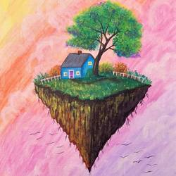 dreamy flying island with house, 10 x 12 inch, bhuvana j,10x12inch,canvas board,paintings,landscape paintings,nature paintings | scenery paintings,art deco paintings,paintings for dining room,paintings for living room,paintings for bedroom,paintings for office,paintings for bathroom,paintings for kids room,paintings for hotel,paintings for kitchen,paintings for school,paintings for hospital,acrylic color,GAL02616437935