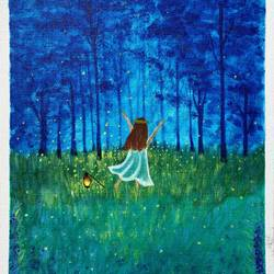 little girl witrh lamp in forest at night, 10 x 12 inch, bhuvana j,10x12inch,canvas board,paintings,figurative paintings,landscape paintings,nature paintings | scenery paintings,art deco paintings,children paintings,kids paintings,paintings for dining room,paintings for living room,paintings for bedroom,paintings for office,paintings for bathroom,paintings for kids room,paintings for hotel,paintings for kitchen,paintings for school,paintings for hospital,acrylic color,GAL02616437936