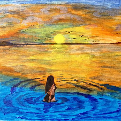 beautiful lady beachside at sunset, 12 x 10 inch, bhuvana j,12x10inch,canvas board,paintings,figurative paintings,landscape paintings,nature paintings | scenery paintings,contemporary paintings,love paintings,paintings for dining room,paintings for living room,paintings for bedroom,paintings for office,paintings for bathroom,paintings for hotel,paintings for hospital,acrylic color,GAL02616437937