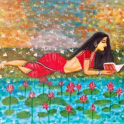 beautifu;l lady reading book pondside, 12 x 10 inch, bhuvana j,12x10inch,canvas board,paintings,figurative paintings,landscape paintings,nature paintings | scenery paintings,art deco paintings,contemporary paintings,love paintings,paintings for dining room,paintings for living room,paintings for bedroom,paintings for office,paintings for bathroom,paintings for hotel,paintings for hospital,acrylic color,GAL02616437938