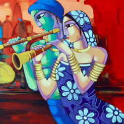 tune of benaras, 60 x 36 inch, sekhar  roy,60x36inch,canvas,religious paintings,acrylic color,GAL02630937941
