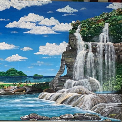 waterfall and buddha , 48 x 24 inch, sushama arts,48x24inch,canvas,paintings,buddha paintings,landscape paintings,nature paintings | scenery paintings,paintings for dining room,paintings for living room,paintings for office,paintings for kids room,paintings for hotel,paintings for school,paintings for hospital,acrylic color,GAL02622137943