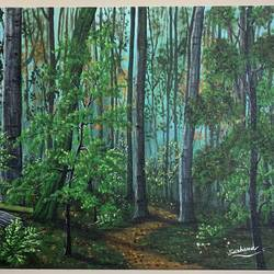 path through woods, 20 x 16 inch, sushama arts,20x16inch,canvas board,paintings,wildlife paintings,landscape paintings,nature paintings | scenery paintings,paintings for dining room,paintings for living room,paintings for bedroom,paintings for office,paintings for bathroom,paintings for kids room,paintings for hotel,paintings for kitchen,paintings for school,paintings for hospital,acrylic color,GAL02622137947