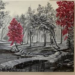 red trees of forest, 30 x 20 inch, sushama arts,30x20inch,canvas,paintings,landscape paintings,nature paintings | scenery paintings,realistic paintings,paintings for dining room,paintings for living room,paintings for bedroom,paintings for office,paintings for kids room,paintings for hotel,paintings for school,paintings for hospital,acrylic color,GAL02622137962