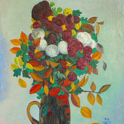 autumn flowers and leaves, 32 x 21 inch, moesey li,flower paintings,paintings for living room,canvas,oil paint,32x21inch,GAL07183797