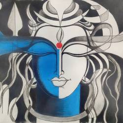 shiva, 12 x 16 inch, neha mittal,12x16inch,ivory sheet,paintings,religious paintings,pastel color,GAL02187437972