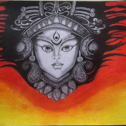 durga painting, 12 x 16 inch, neha mittal,12x16inch,ivory sheet,paintings,religious paintings,charcoal,GAL02187437973