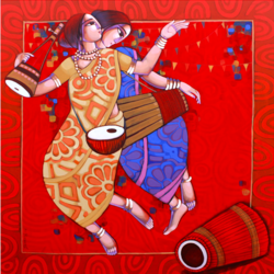 bengali tune, 60 x 66 inch, sekhar  roy,60x66inch,canvas,modern art paintings,acrylic color,GAL02630937979