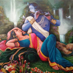 radha krishna love, 48 x 36 inch, sandeep santra,radha krishna paintings,paintings for living room,religious paintings,canvas,acrylic color,48x36inch,GAL013933798,radha,krishna,lord,lordkrishna,flute,love,couple,