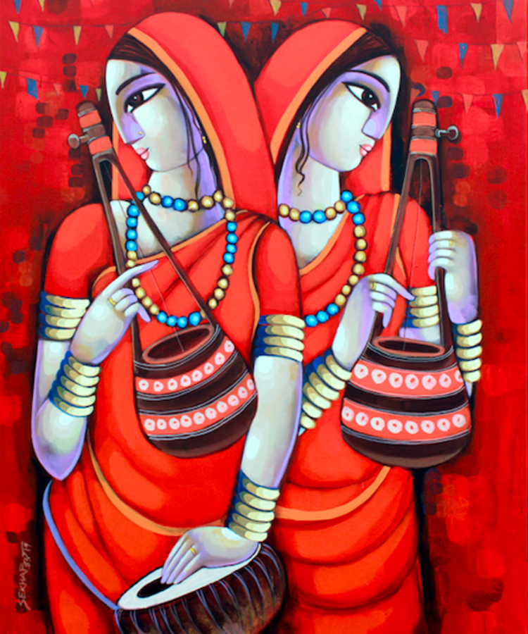 bengali tune , 30 x 36 inch, sekhar  roy,30x36inch,canvas,figurative paintings,acrylic color,GAL02630937980