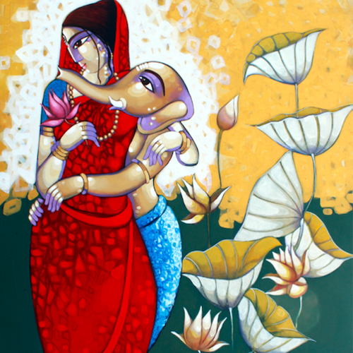 janani, 48 x 66 inch, sekhar  roy,48x66inch,canvas,religious paintings,acrylic color,GAL02630937982