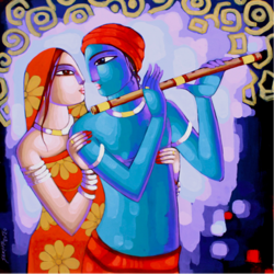 radha krishna love, 36 x 36 inch, sekhar  roy,36x36inch,canvas,religious paintings,acrylic color,GAL02630937983