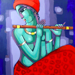 krishna, 26 x 28 inch, sekhar  roy,26x28inch,canvas,religious paintings,acrylic color,GAL02630937984