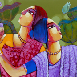 ecstasy, 42 x 24 inch, sekhar  roy,42x24inch,canvas,religious paintings,acrylic color,GAL02630937986