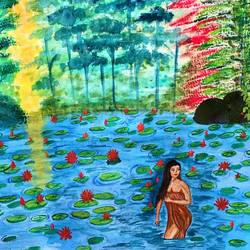 beautiful lady bathing in pond at sunrise, 19 x 17 inch, bhuvana j,19x17inch,canvas,paintings,figurative paintings,landscape paintings,nature paintings | scenery paintings,art deco paintings,paintings for dining room,paintings for living room,paintings for bedroom,paintings for office,paintings for bathroom,paintings for hotel,paintings for kitchen,paintings for school,paintings for hospital,acrylic color,GAL02616437996