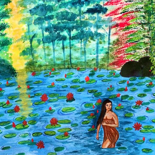 beautiful lady bathing in pond at sunrise, 19 x 17 inch, bhuvana j,19x17inch,canvas,paintings,figurative paintings,landscape paintings,nature paintings   scenery paintings,art deco paintings,paintings for dining room,paintings for living room,paintings for bedroom,paintings for office,paintings for bathroom,paintings for hotel,paintings for kitchen,paintings for school,paintings for hospital,acrylic color,GAL02616437996