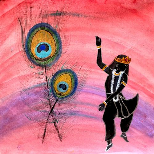 dancing krishna with peacock feathers, 19 x 17 inch, bhuvana j,19x17inch,canvas,paintings,figurative paintings,religious paintings,art deco paintings,radha krishna paintings,paintings for dining room,paintings for living room,paintings for bedroom,paintings for office,paintings for bathroom,paintings for kids room,paintings for hotel,paintings for kitchen,paintings for school,paintings for hospital,acrylic color,GAL02616437998