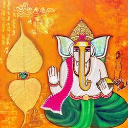 ganesha bhakti [dna 1], 20 x 20 inch, nandini verma,20x20inch,canvas,paintings,religious paintings,paintings for living room,paintings for office,paintings for hotel,paintings for school,paintings for hospital,acrylic color,GAL0273737999