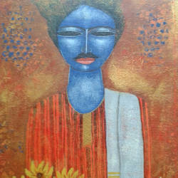 bengali babu , 20 x 20 inch, arindam chakraborty,figurative paintings,paintings for living room,canvas,acrylic color,20x20inch,GAL0165380