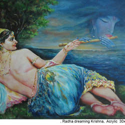 radha dreaming on krishna, 30 x 24 inch, sandeep santra,radha krishna paintings,religious paintings,paintings for bedroom,canvas,acrylic color,30x24inch,GAL013933800,krishna,Lord krishna,krushna,radha krushna,flute,peacock feather,melody,peace,religious,god,love,romance