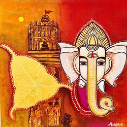 ganesha bhakti [dna 2], 20 x 20 inch, nandini verma,20x20inch,canvas,paintings,religious paintings,paintings for living room,paintings for office,paintings for kids room,paintings for hotel,paintings for school,paintings for hospital,acrylic color,mixed media,GAL0273738000