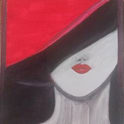 beautiful lady with red hat, 10 x 12 inch, monika sharma,10x12inch,canvas,paintings,portrait paintings,acrylic color,GAL02598138003