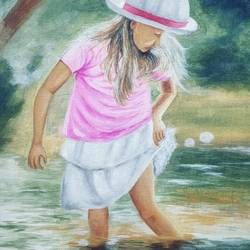 little girl in water, 12 x 16 inch, vimal dhale,12x16inch,canvas board,paintings,portrait paintings,realistic paintings,children paintings,kids paintings,paintings for dining room,paintings for living room,paintings for bedroom,paintings for office,paintings for hotel,paintings for school,paintings for hospital,acrylic color,GAL02624838007