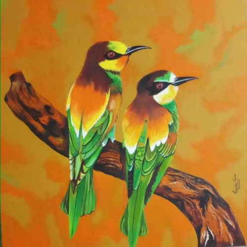 two birds, 36 x 36 inch, virender verma,36x36inch,canvas board,paintings,wildlife paintings,paintings for dining room,paintings for living room,paintings for bedroom,paintings for office,paintings for kids room,paintings for hotel,paintings for school,paintings for hospital,acrylic color,GAL01272438008