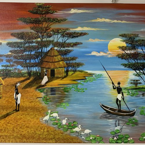 tribal village , 36 x 24 inch, sushama arts,36x24inch,canvas,paintings,landscape paintings,nature paintings | scenery paintings,realistic paintings,paintings for dining room,paintings for living room,paintings for bedroom,paintings for office,paintings for hotel,paintings for hospital,acrylic color,GAL02622138009