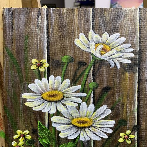 daisy flower, 8 x 10 inch, sushama arts,8x10inch,canvas board,paintings,abstract paintings,flower paintings,realistic paintings,paintings for dining room,paintings for living room,paintings for bedroom,paintings for office,paintings for bathroom,paintings for kids room,paintings for hotel,paintings for kitchen,paintings for school,paintings for hospital,acrylic color,GAL02622138011
