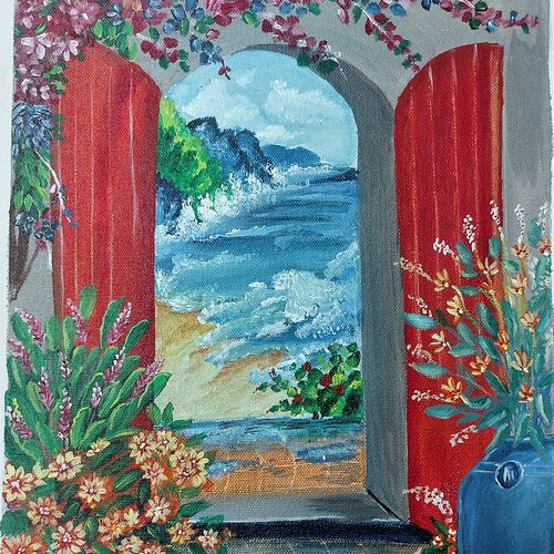 nature from the door, 12 x 17 inch, divya vunna,12x17inch,canvas,nature paintings | scenery paintings,paintings for dining room,paintings for living room,paintings for bedroom,paintings for office,paintings for kids room,paintings for hotel,paintings for dining room,paintings for living room,paintings for bedroom,paintings for office,paintings for kids room,paintings for hotel,acrylic color,GAL02645238013