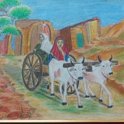 village women in a cart, 16 x 12 inch, divya vunna,16x12inch,canvas,paintings,still life paintings,paintings for dining room,paintings for living room,paintings for bedroom,paintings for office,paintings for kids room,paintings for hotel,paintings for dining room,paintings for living room,paintings for bedroom,paintings for office,paintings for kids room,paintings for hotel,pastel color,GAL02645238014