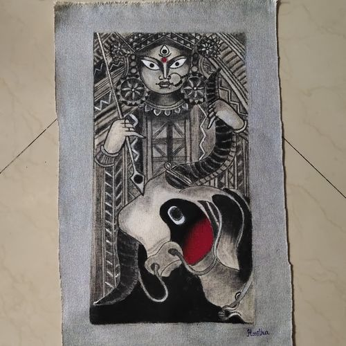 durga ma, 12 x 18 inch, haritha gopisetty,12x18inch,canvas,paintings,conceptual paintings,paintings for dining room,paintings for living room,paintings for office,paintings for hospital,acrylic color,charcoal,GAL02133438018