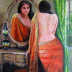 mirror reflection, 15 x 21 inch, sandeep santra,realistic paintings,paintings for bedroom,canvas,acrylic color,15x21inch,GAL013933802