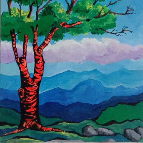 tree of positive vibration, 12 x 16 inch, virender verma,12x16inch,canvas board,paintings,landscape paintings,paintings for dining room,paintings for living room,paintings for bedroom,paintings for office,paintings for kids room,paintings for hotel,paintings for school,paintings for hospital,acrylic color,GAL01272438021