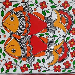 madhubani fishes, 10 x 12 inch, apoorva shirsat,10x12inch,canvas board,paintings,madhubani paintings | madhubani art,paintings for dining room,paintings for living room,paintings for bedroom,paintings for office,paintings for hotel,paintings for dining room,paintings for living room,paintings for bedroom,paintings for office,paintings for hotel,acrylic color,GAL02646538026