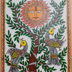 madhubani tree, 10 x 12 inch, apoorva shirsat,10x12inch,canvas board,paintings,madhubani paintings | madhubani art,paintings for dining room,paintings for living room,paintings for bedroom,paintings for office,paintings for hotel,acrylic color,GAL02646538029