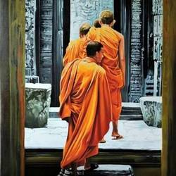the buddha's home, 36 x 48 inch, tavishi kanoria,buddha paintings,paintings for living room,vertical,canvas,oil paint,36x48inch,religious,peace,meditation,meditating,gautam,goutam,buddha,monks,temple,GAL013963803