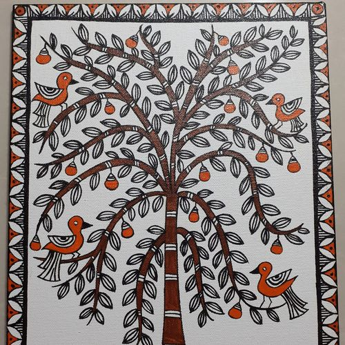 madhubani tree, 10 x 12 inch, apoorva shirsat,10x12inch,canvas board,paintings,madhubani paintings | madhubani art,paintings for dining room,paintings for living room,paintings for bedroom,paintings for office,paintings for hotel,acrylic color,GAL02646538030