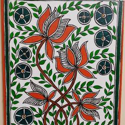 madhubani lotus, 10 x 12 inch, apoorva shirsat,10x12inch,canvas board,paintings,madhubani paintings | madhubani art,paintings for dining room,paintings for living room,paintings for bedroom,paintings for office,paintings for hotel,acrylic color,GAL02646538031