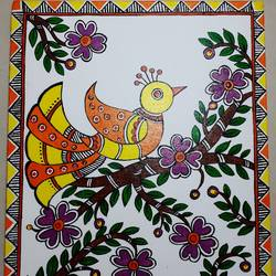 madhubani bird, 10 x 12 inch, apoorva shirsat,10x12inch,canvas board,paintings,madhubani paintings | madhubani art,paintings for dining room,paintings for living room,paintings for bedroom,paintings for office,paintings for hotel,acrylic color,GAL02646538032