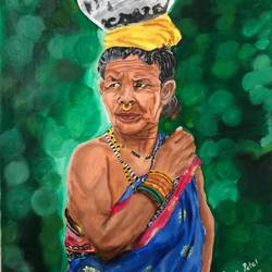 my village lady, 18 x 24 inch, renu patel,18x24inch,canvas,figurative paintings,portrait paintings,realistic paintings,paintings for living room,paintings for office,paintings for hotel,paintings for school,paintings for living room,paintings for office,paintings for hotel,paintings for school,acrylic color,GAL02647338037